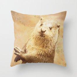 Vintage Animals - Otter Throw Pillow