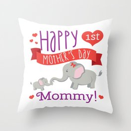 Happy Mothers Day Message Best Mom Elephant Gift Throw Pillow