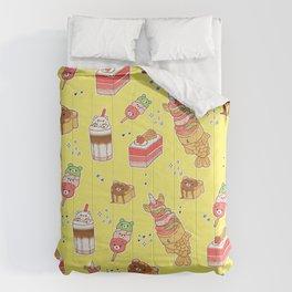 Street Treats on Yellow: Kawaii Food Comforters