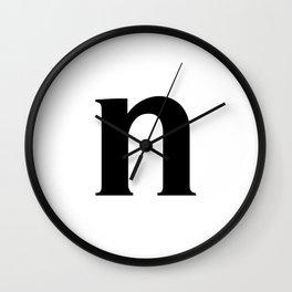 n (BLACK & WHITE LETTERS) Wall Clock