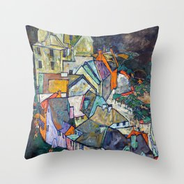 Egon Schiele - Edge of Town (Krumau Town Crescent III) 1918 Throw Pillow