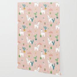 Summer Llamas on Pink Wallpaper