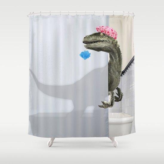 """Velociraptor"" Shower Curtain by designsbyroyiberkovitz"