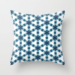Blue seed of life pattern Throw Pillow