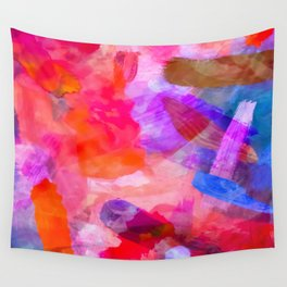 splash painting texture abstract background in purple pink red blue Wall Tapestry