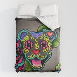 Smiling Pit Bull in Blue - Day of the Dead Pitbull Sugar Skull Comforters