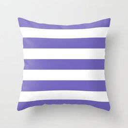 Blue-violet (Crayola) - solid color - white stripes pattern Throw Pillow