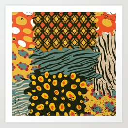 Colorful African Animal Pattern Art Print