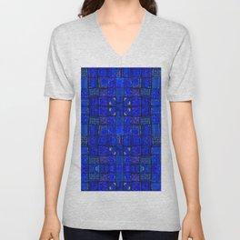 Deep Calm Blue Oriental Berber Traditional Moroccan Texture Design  Unisex V-Neck