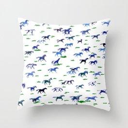 Blue Stampede Throw Pillow