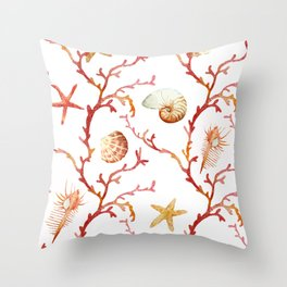 Shell & Coral Watercolor Pattern Throw Pillow