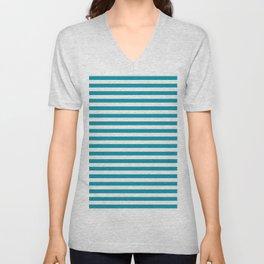 Bondi Blue Seashell Stripe Unisex V-Neck