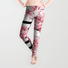 Simply Drawn Stripes and Roses Leggings
