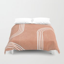 Mid Century Modern 2 - Geometrical Abstract - Minimal Print - Terracotta Abstract - Burnt Sienna Duvet Cover