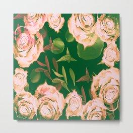 Emerald & Vintage Pink Roses & Petals Metal Print