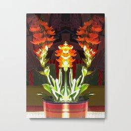 Symmetrical Red Flowers in Striped Pot Metal Print
