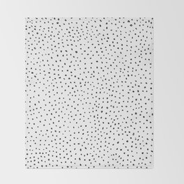 Dotted White & Black Throw Blanket