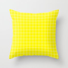 Cadmium yellow - yellow color - White Lines Grid Pattern Throw Pillow