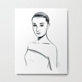 Audrey Hepburn Watercolor and Ink, Elegant Portrait, High Contrast Metal Print