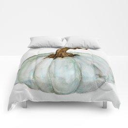 Blue-Gray Cinderella Pumpkin - Watercolor  Comforters