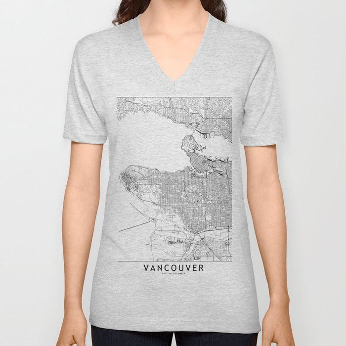 Vancouver White Map Unisex V-Neck