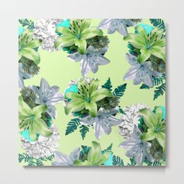 GREEN LILY WHITE ROSES FLORAL PATTERN Metal Print