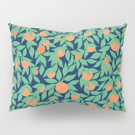 Oranges and Leaves Pattern - Navy Blue Pillow Sham