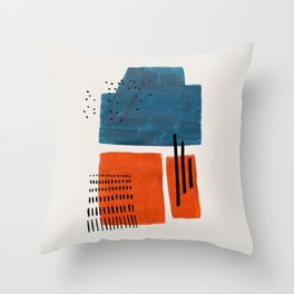 Burnt Orange Jewel Teal Blue Mid Century Modern Funky Colorful Shapes Patterns by Ejaaz Haniff Throw Pillow
