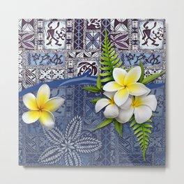 Blue Hawaiian Tapa and Plumeria Metal Print
