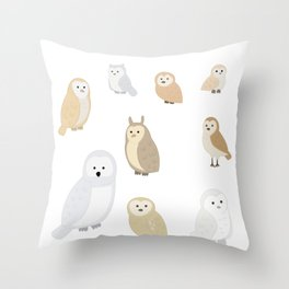 Owls of The World, Owl Lover Gift, Bird Lover, Bird Watcher Shirt Throw Pillow