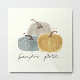 Pumpkin Patch Trio in watercolor neutrals Metal Print