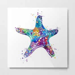 Starfish Art Colorful Blue Purple Watercolor Gift Ocean Decor Nature Art Sea Life Art Metal Print