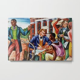 """African American Classical Masterpiece """"Opening day at Talladega College"""" by Hale Woodruff Metal Print"""