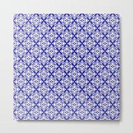 Damask (White & Navy Blue Pattern) Metal Print