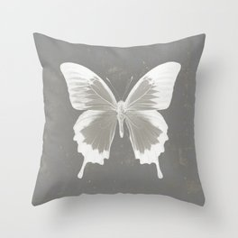 Butterfly on grunge surface Throw Pillow