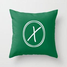 Monogram - Letter X on Cadmium Green Background Throw Pillow