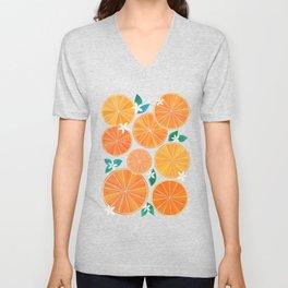 Orange Slices With Blossoms Unisex V-Neck