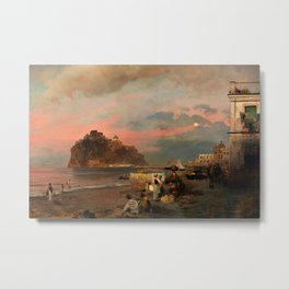 View of Ischia and Maronti Beach with Aragonese Castle by Oswald Achenbach Italian Landscape Metal Print