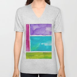 180811 Watercolor Block Swatches 8| Colorful Abstract |Geometrical Art Unisex V-Neck