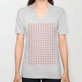 Pantone Living Coral Thin Line Stripe Grid (Pinstripe) and Polka Dots on White Unisex V-Neck