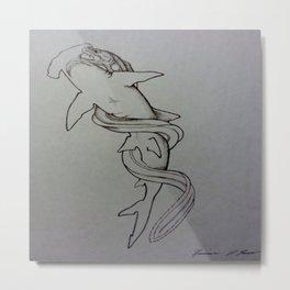 Hammerhead Shark Vs. Eel Metal Print