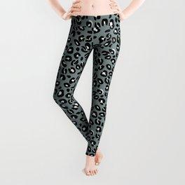 Grey and Black Leopard Spots Animal Print Pattern Leggings
