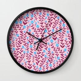 Burgundy and Blue Minimal Vintage Floral Pattern Wall Clock