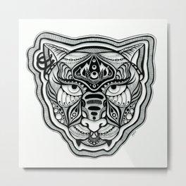Blackwork Queen Cat Face Metal Print