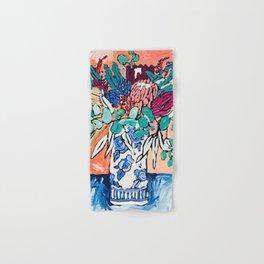 Orange Protea Bouquet Australian Wildflower Still Life Painting Hand & Bath Towel