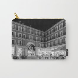 Night Time at the Plaza Mayor of Madrid BW Carry-All Pouch
