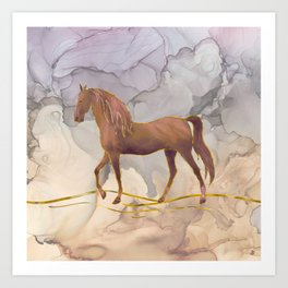 Wild Horse Walking in the Hot Desert Art Print