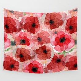 Pressed Poppy Blossom Pattern Wall Tapestry