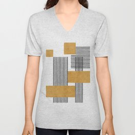 Stripes and Square Composition - Abstract Unisex V-Neck