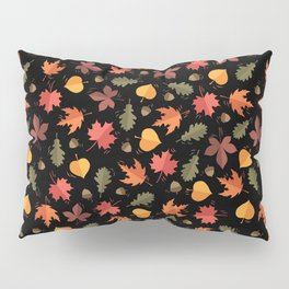 Autumn Leaves Pattern Black Background Pillow Sham
